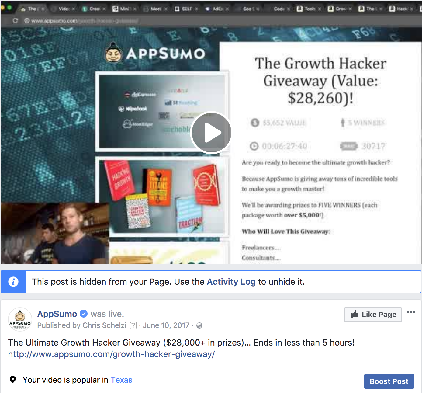 Screenshot showing a facebook promotion for an appsumo giveaway