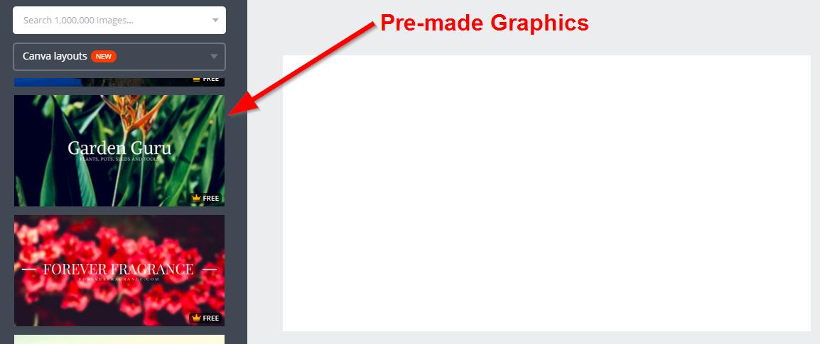 Screenshot showing pre-made graphics