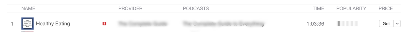 Screenshot of the title of a podcast episode