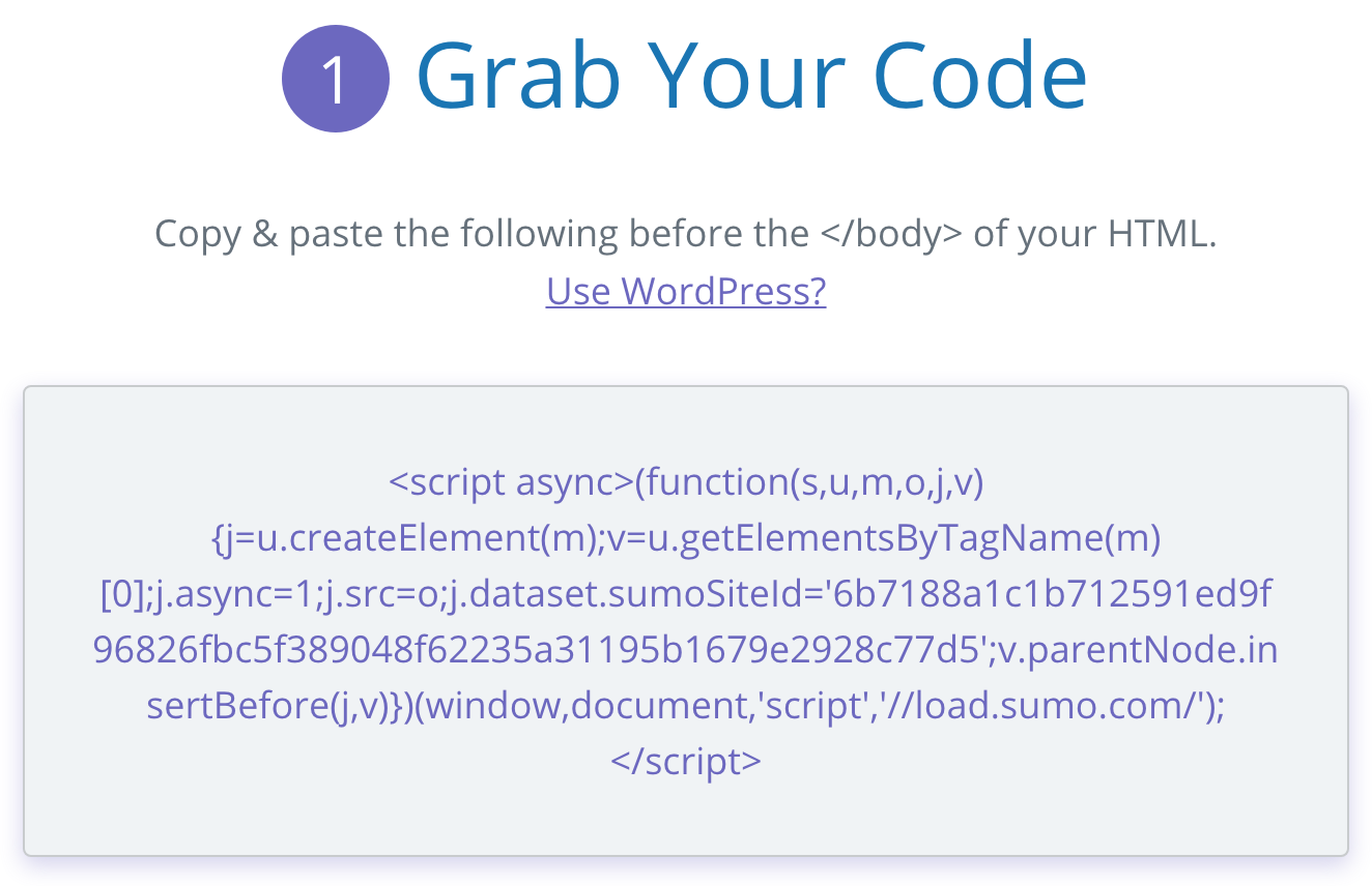 Screenshot showing Sumo code