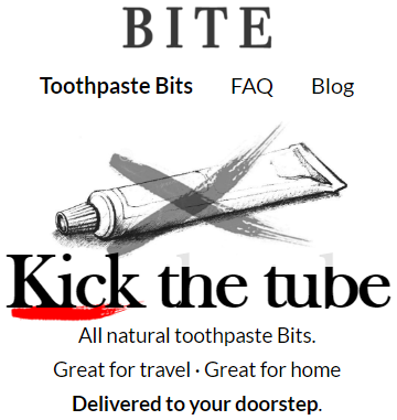 Screenshot of a webpage about a product about toothpaste bites