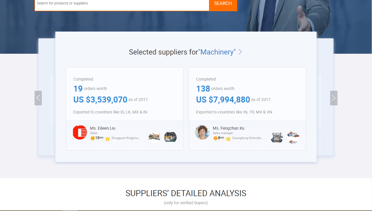 """Screenshot showing suppliers for """"machinery"""""""