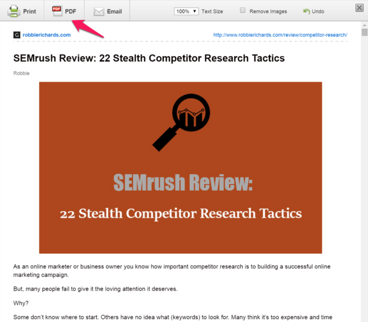Screenshot showing a SEMrush review page