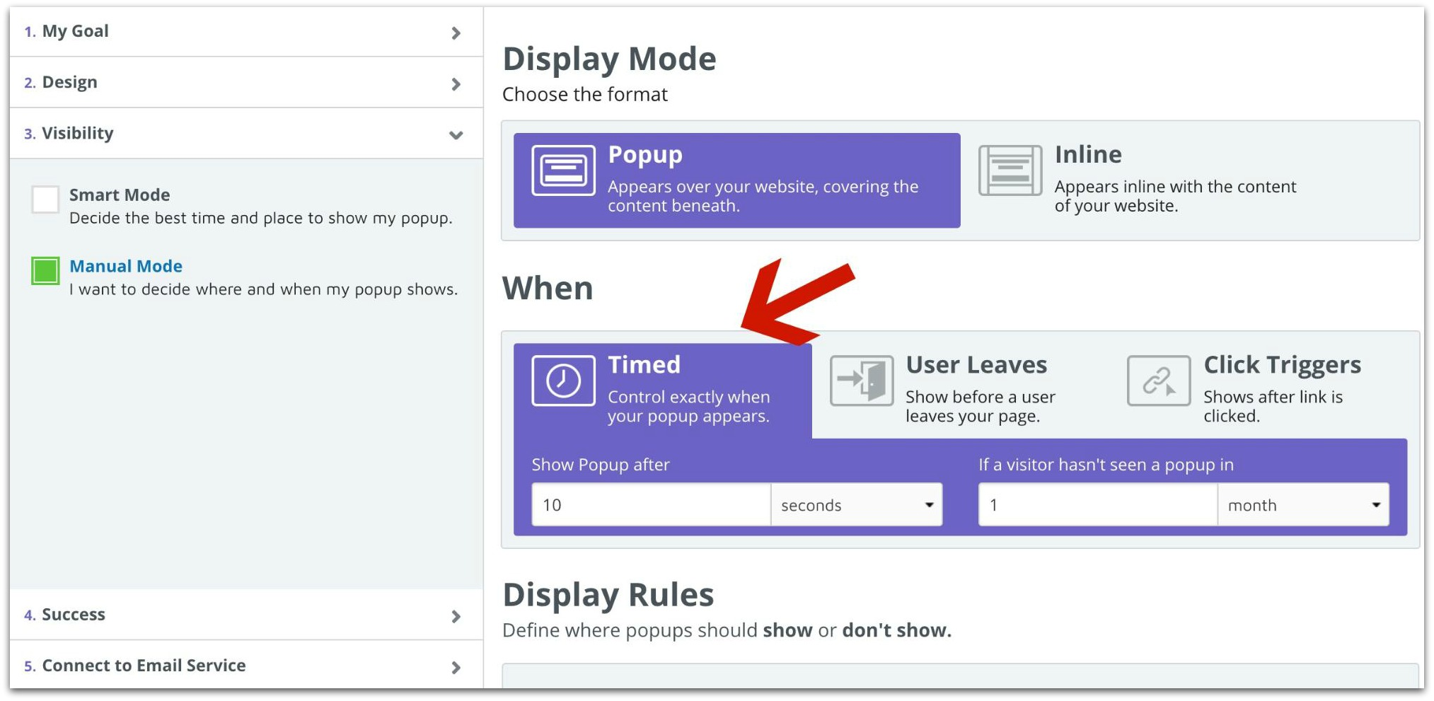 Screenshot showing how you can set up timed popups in the Sumo Dashboard