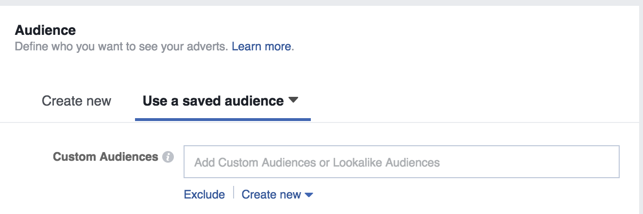 Screenshot showing the audience selection box on facebook ads