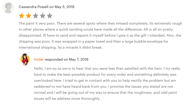 Screenshot showing a customer review