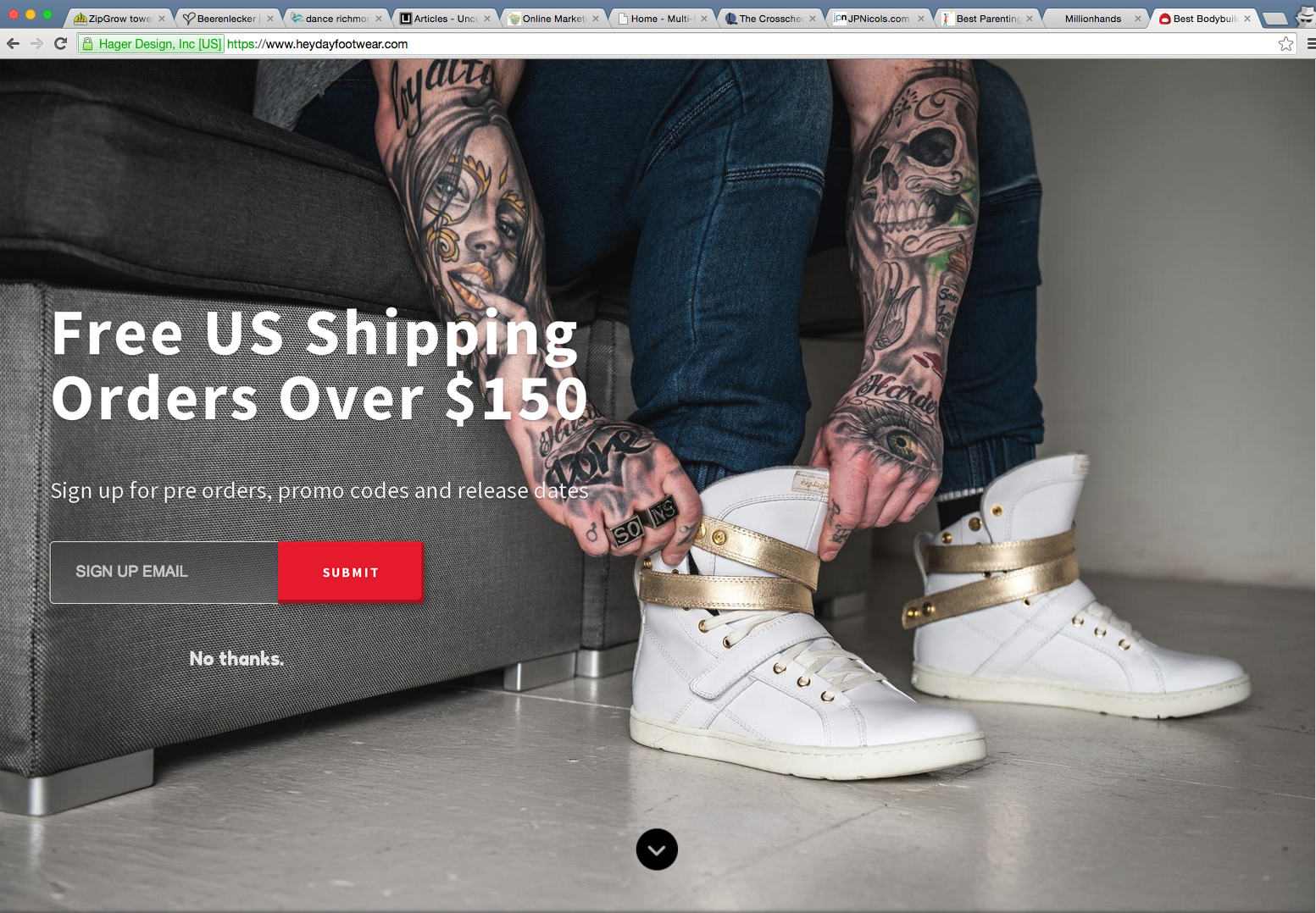 Screenshot showing a welcome mat on an ecommerce site, created with Sumo