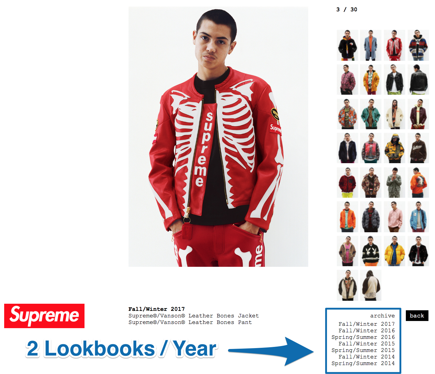 Screenshot showing the lookbooks for a certain piece of clothing by Supreme