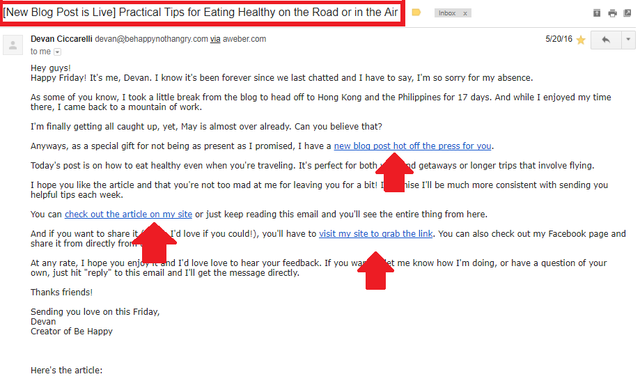 Screenshot showing an email sent by Devan @ Be Happy