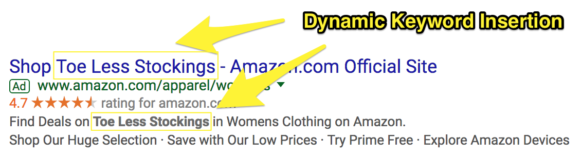 Screenshot showing a google adwords ad for an amazon product