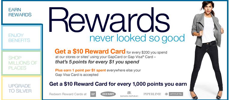 Screenshot showing a rewards card by Gap