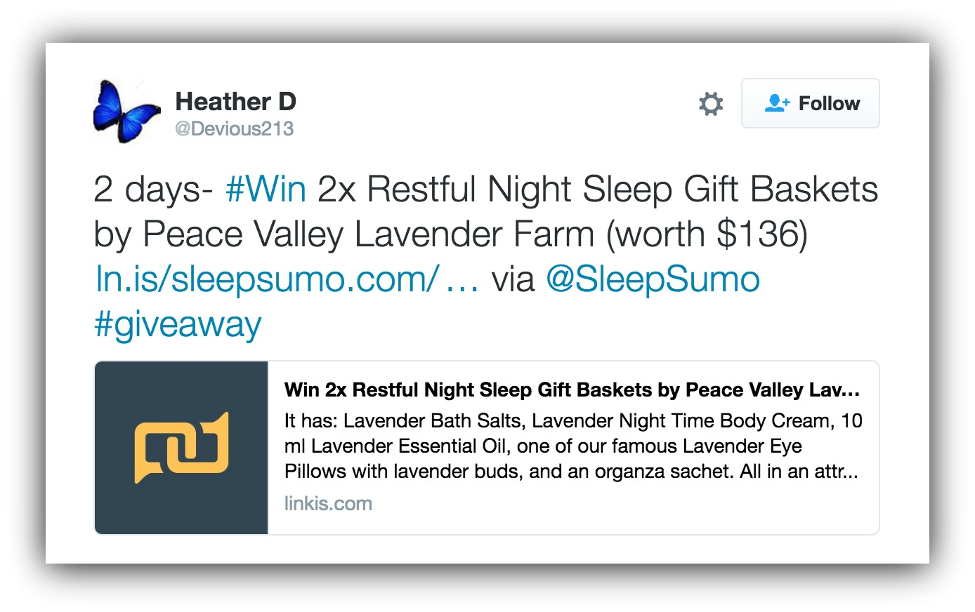Screenshot of someone sharing the sleepsumo sweepstakes on twitter