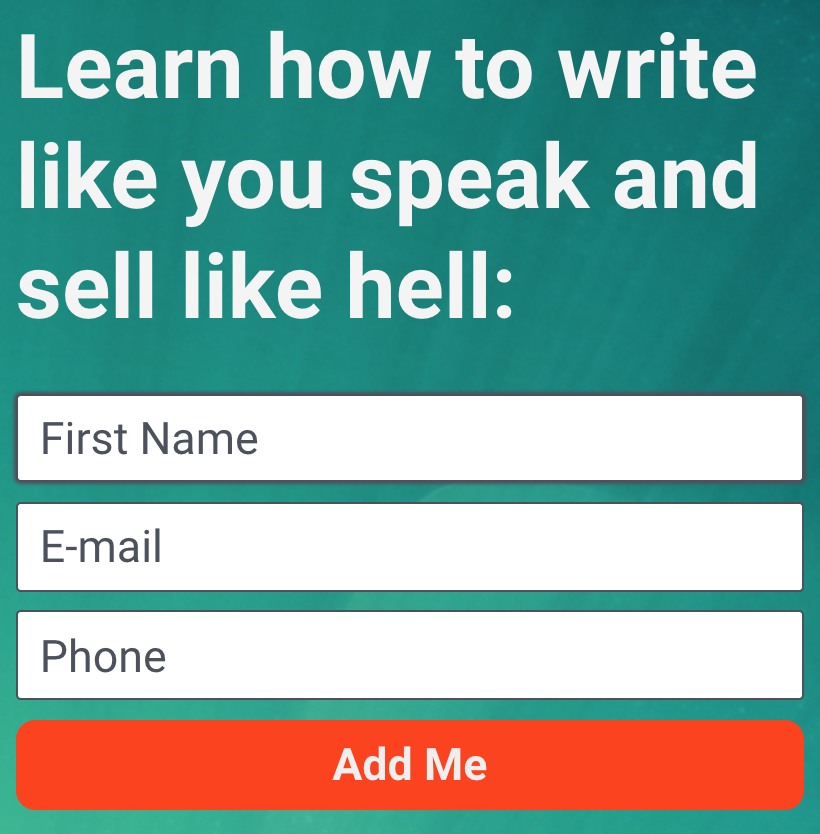 Screenshot showing an intro form