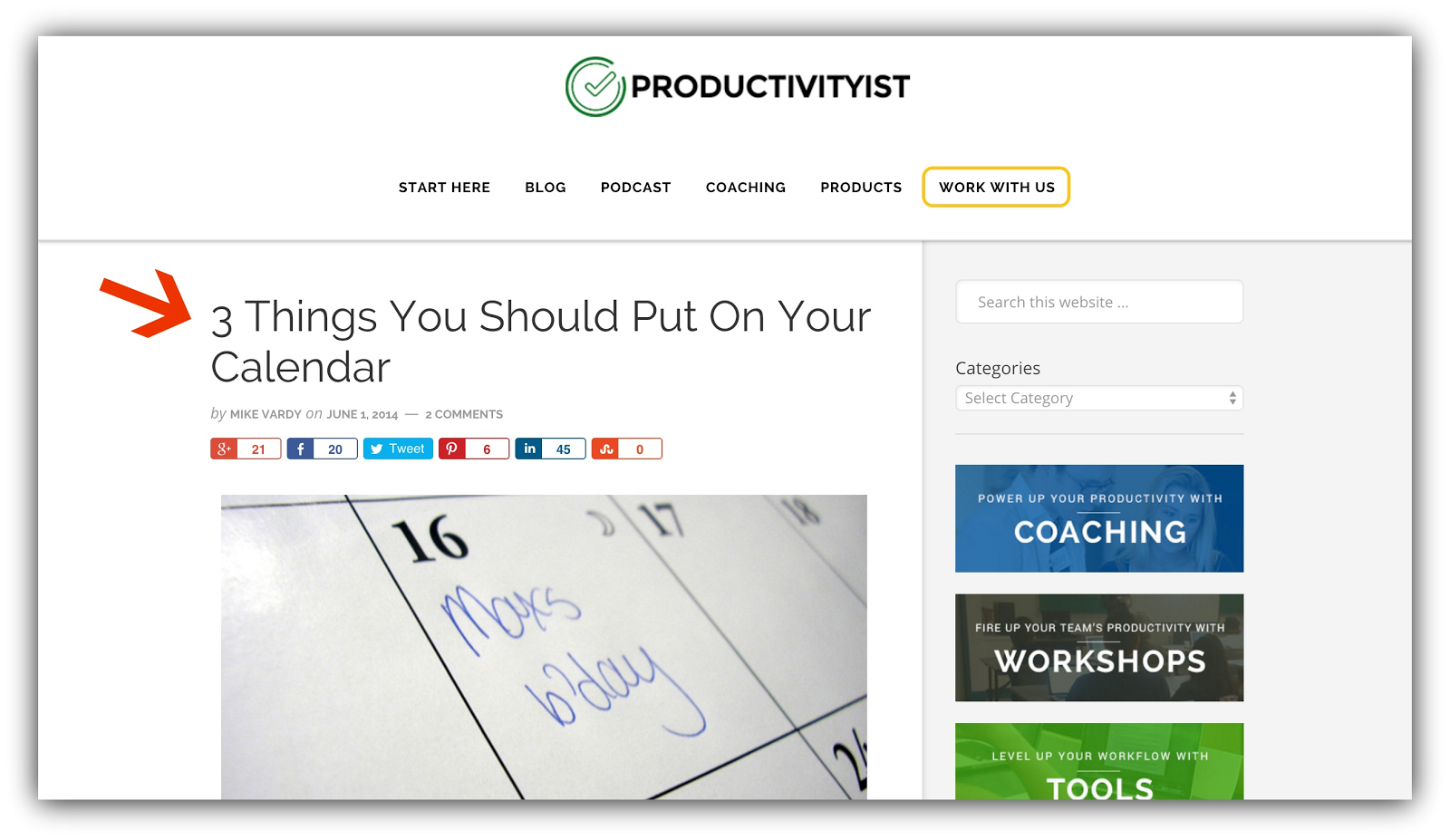 productivityist 3 things calendar