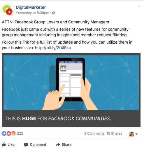 Screenshot showing a facebook ad by digitalmarketer
