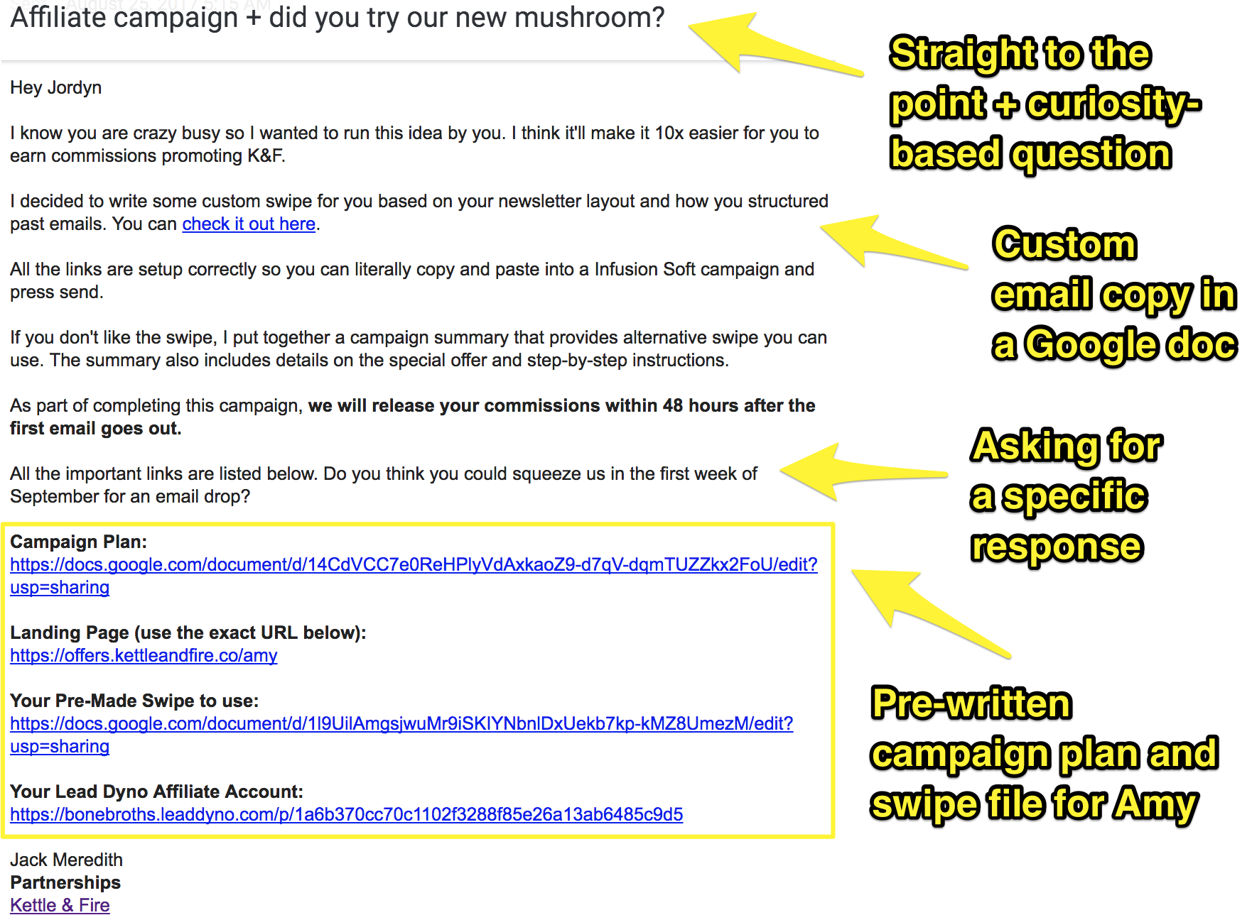 Screenshot showing an email about affiliate campaigns