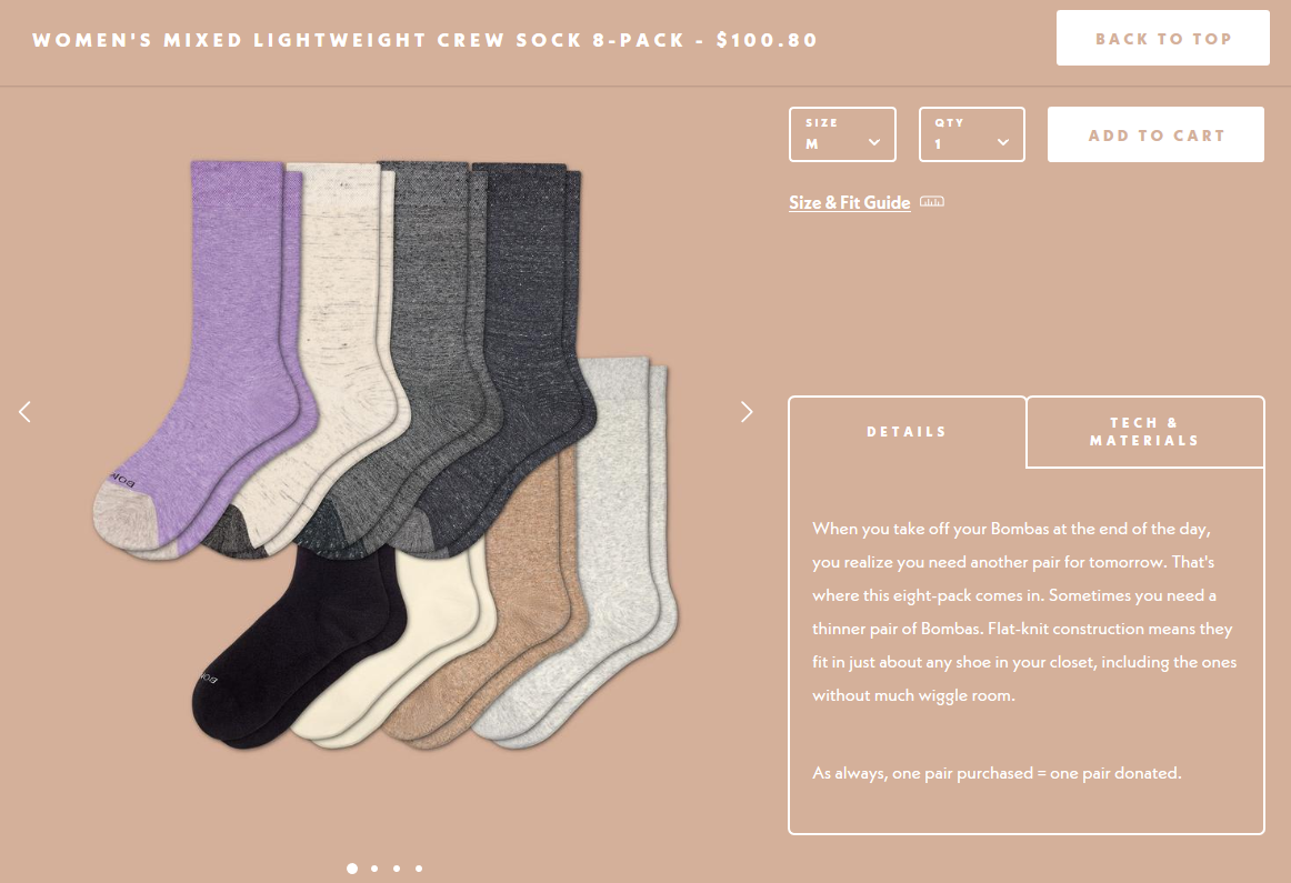 Screenshot showing a product page for socks