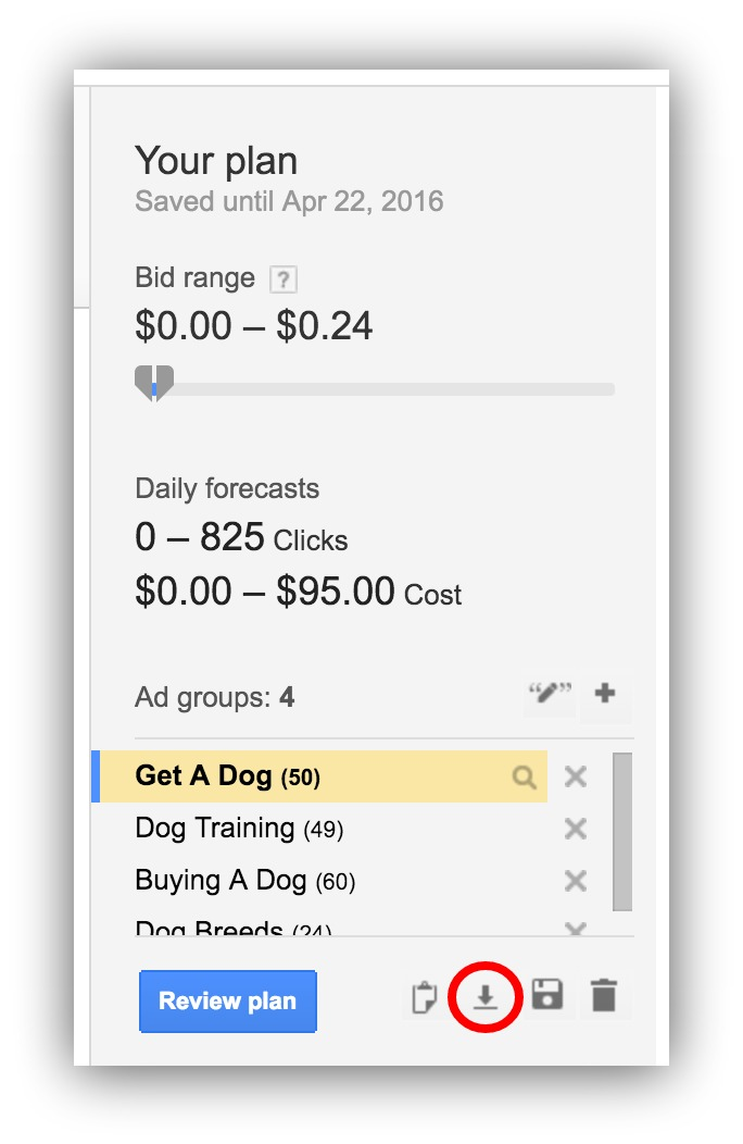 google adwords bid plan