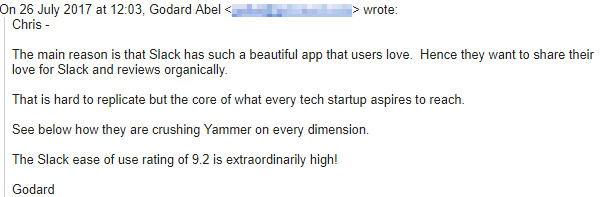 Screenshot of an email talking about why Slack is so successful