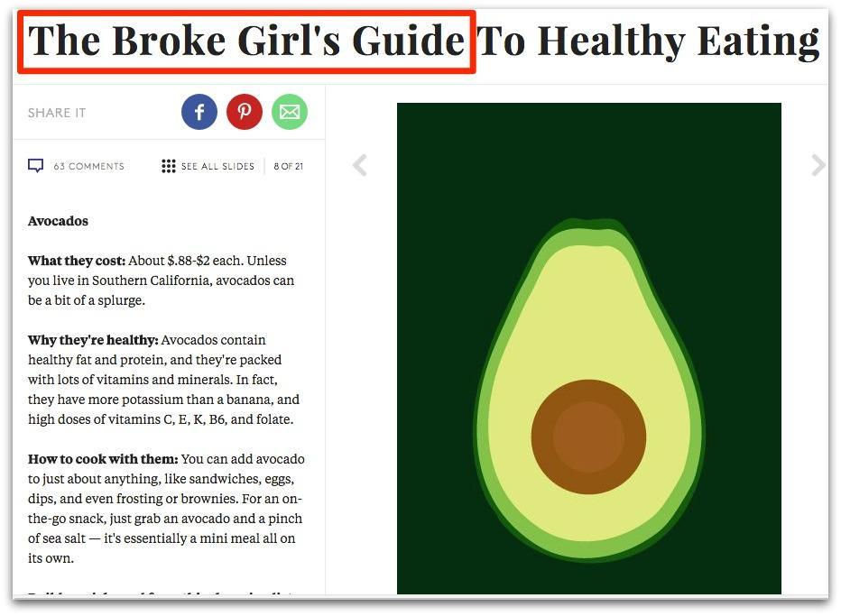 Screenshot of an article