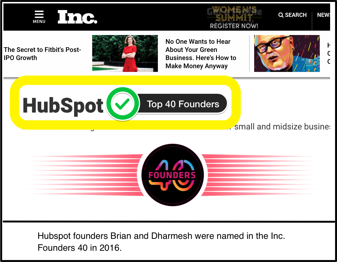 Screenshot showing hubspot featured on Inc.com