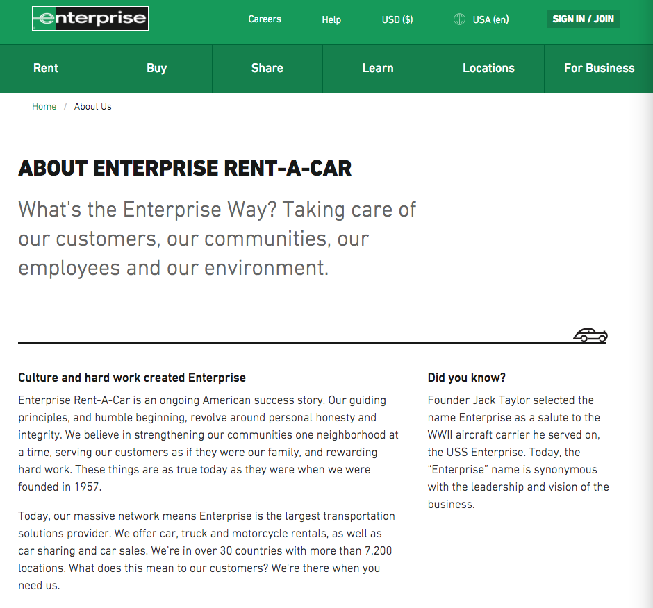 about enterprise page
