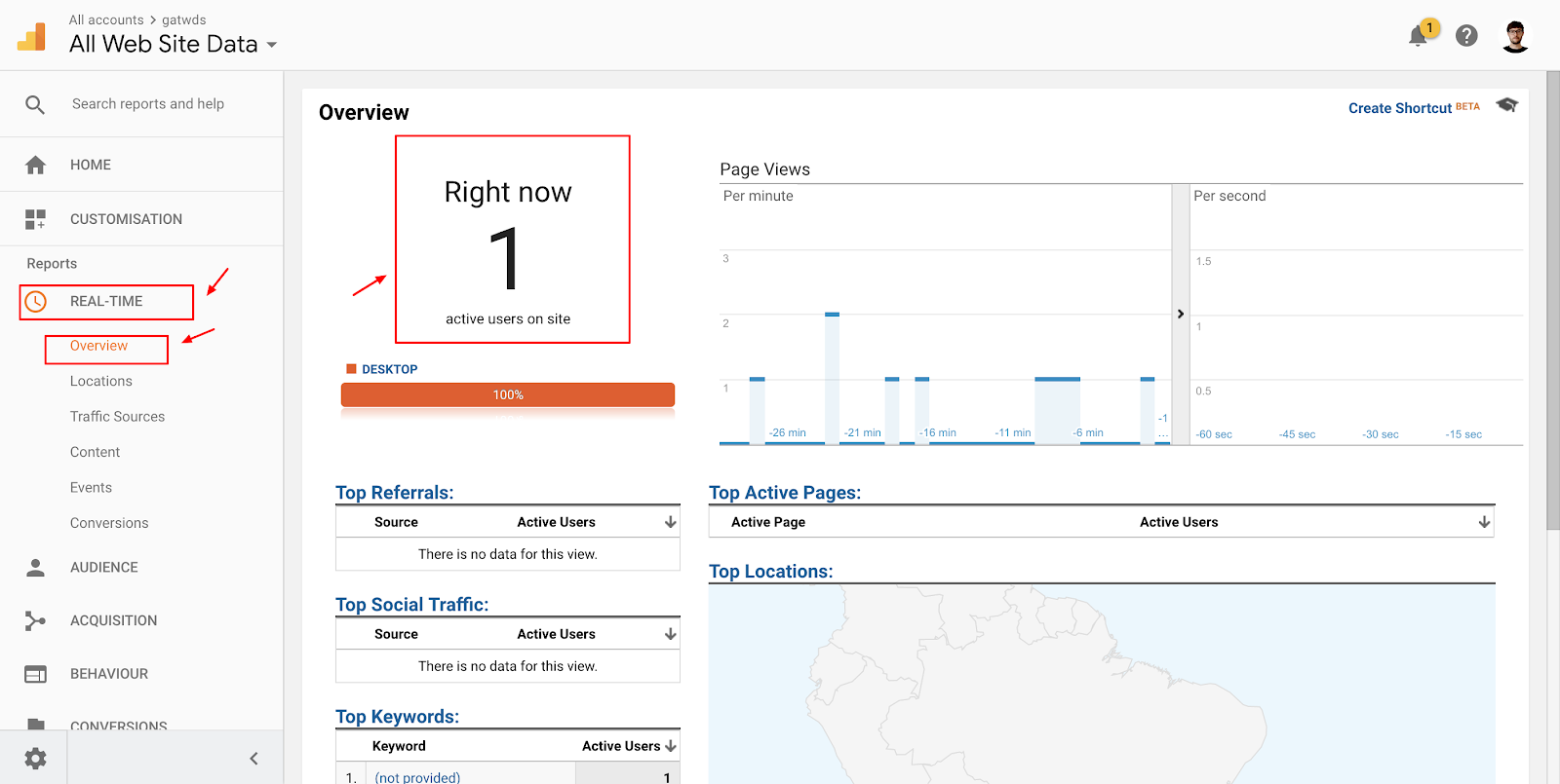 Screenshot showing a live visitors page on the Analytics dashboard
