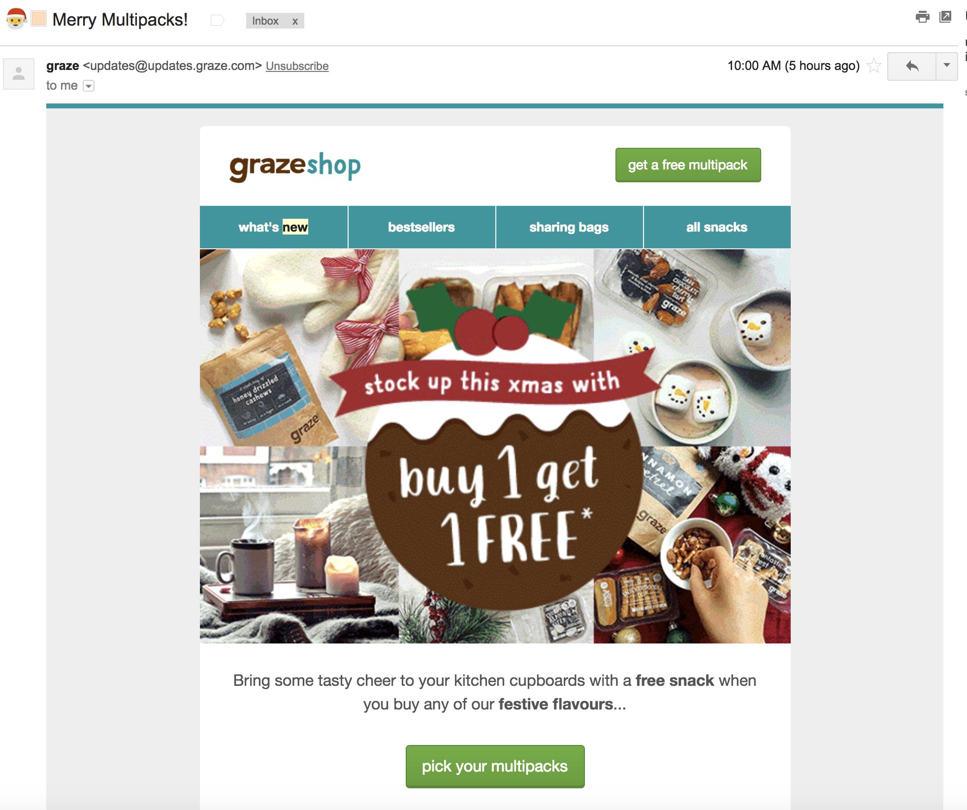 Screenshot showing an email by grazeshop