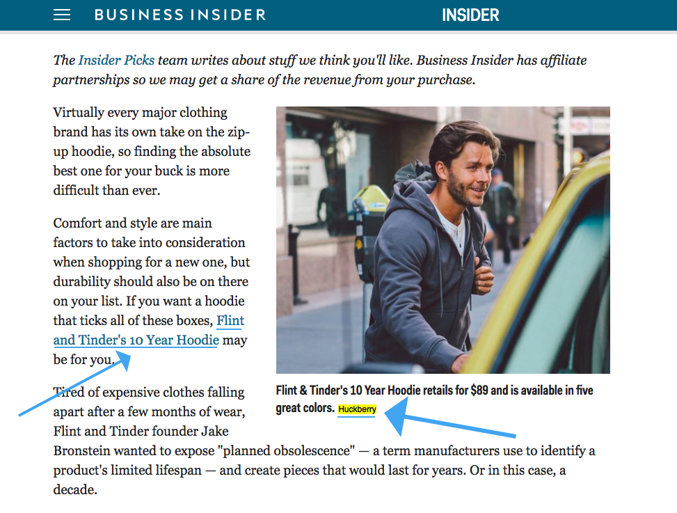 Screenshot showing a news piece linking to Huckberry