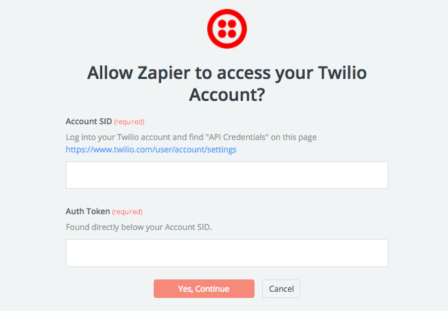 Screenshot showing a confirmation page on the Twilio dashboard