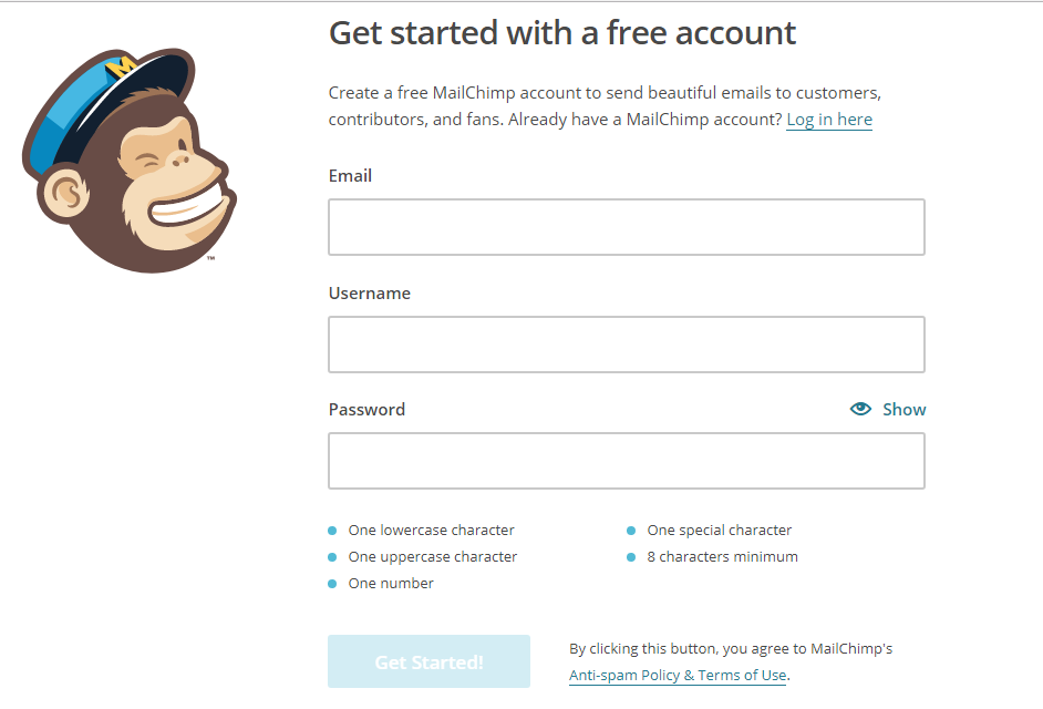 Screenshot showing the sign up page on Mailchimp