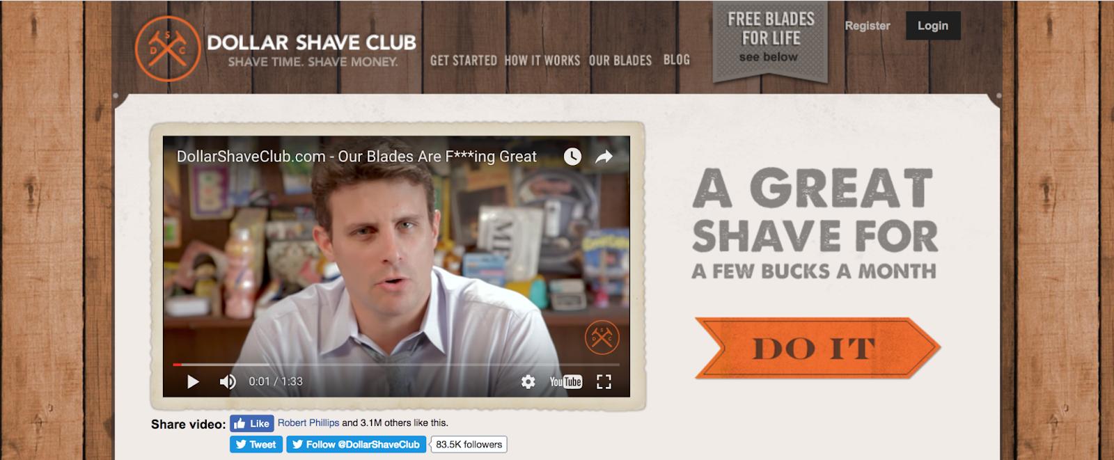 Screenshot showing Dollar Shave Club