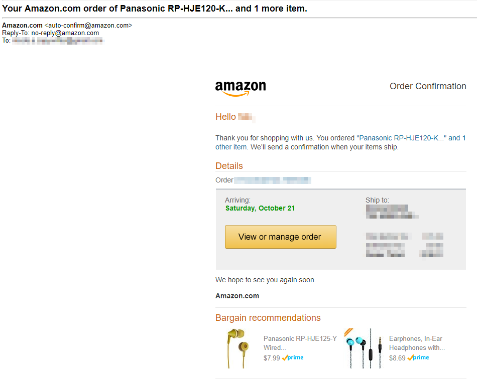 Screenshot showing an order confirmation email sent by amazon