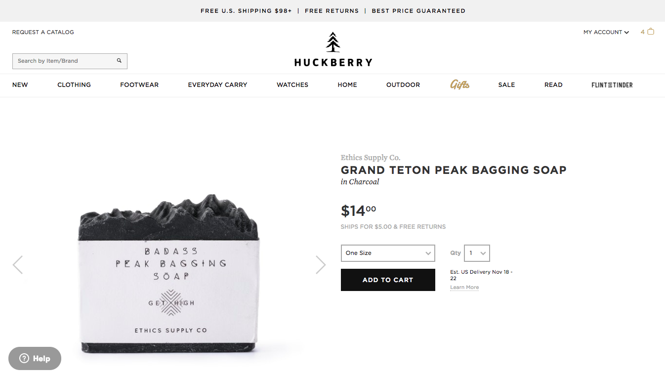 Screenshot showing a product page on Huckberry