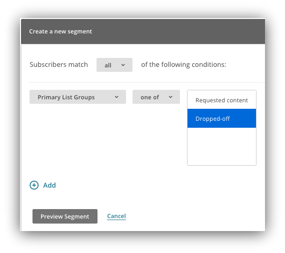 "Screenshot showing the ""create a new segment"" menu on the mailchimp dashboard"