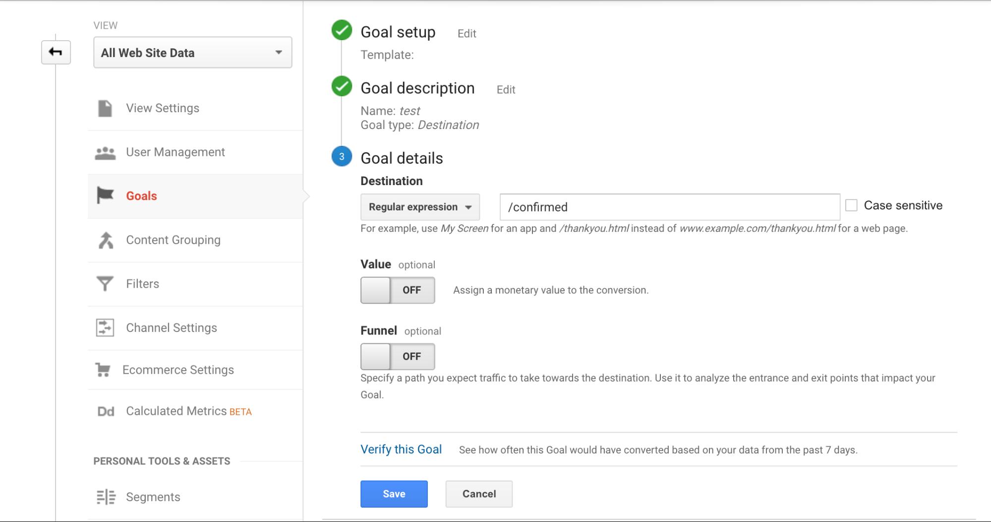 Screenshot showing google analytics goals page