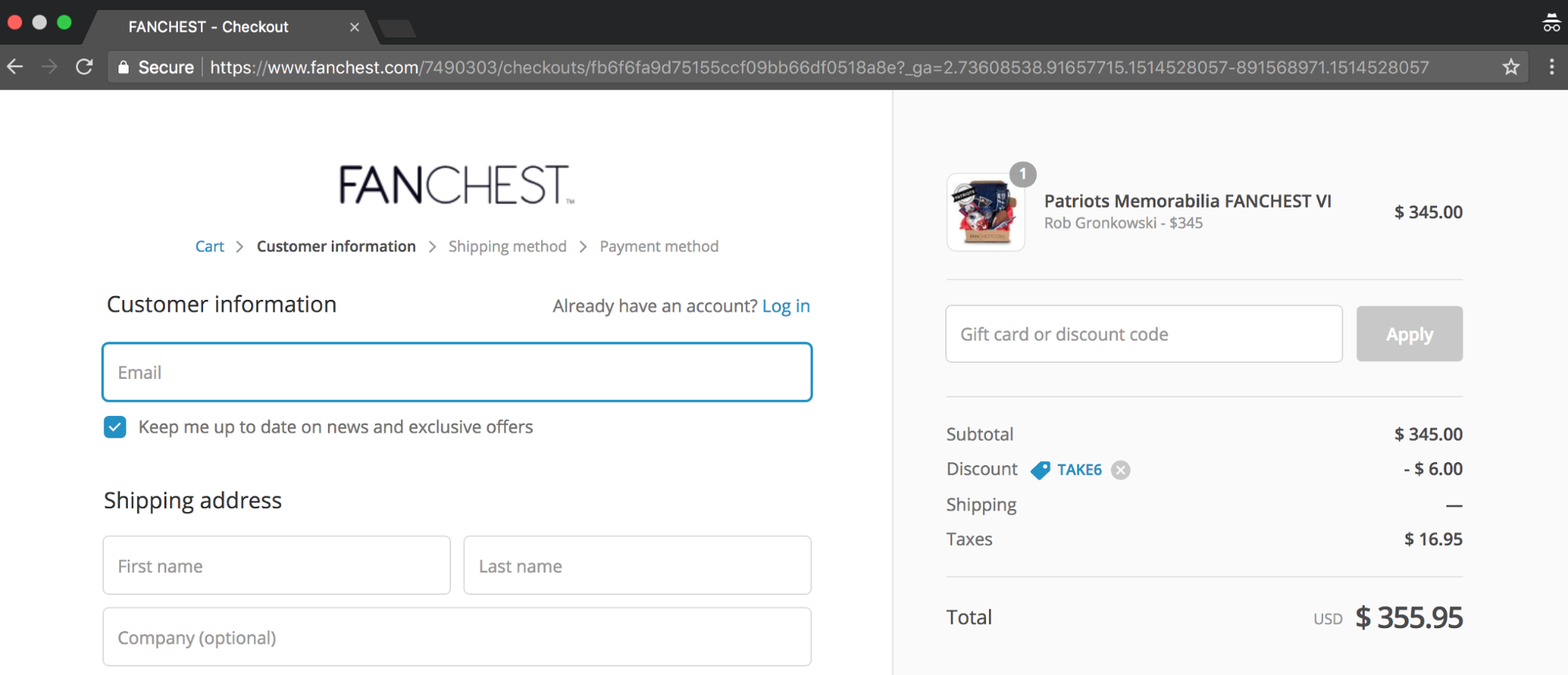 Screenshot showing a checkout page