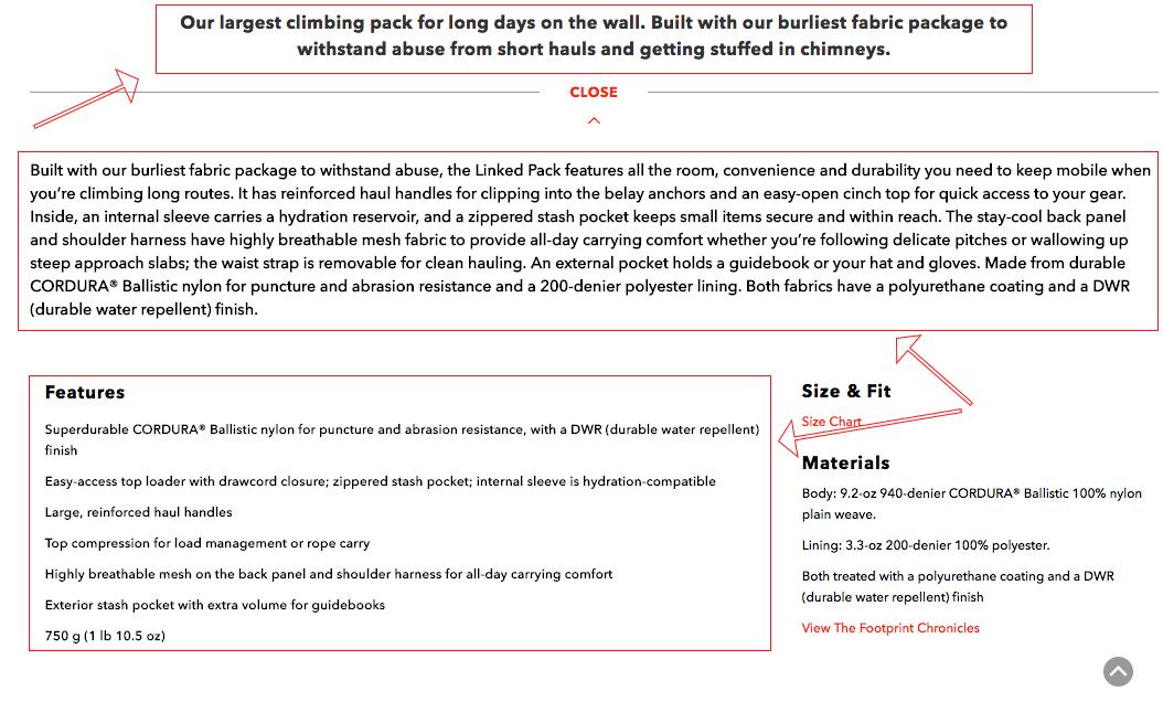 Screenshot showing a product description page