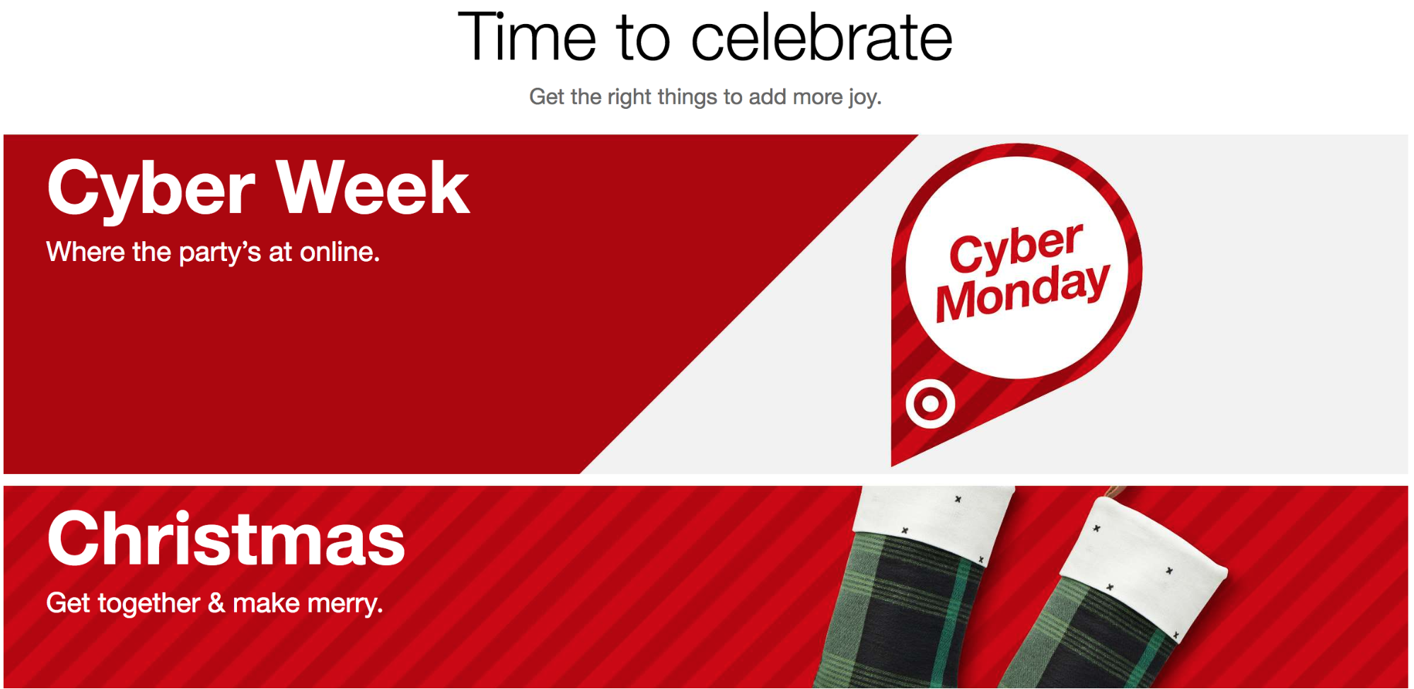 Screenshot showing a banner about cyber monday on target.com