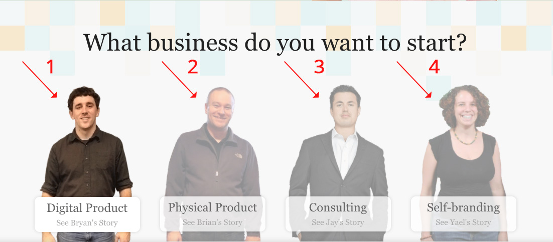 Screenshot showing 4 different entrepreneurs