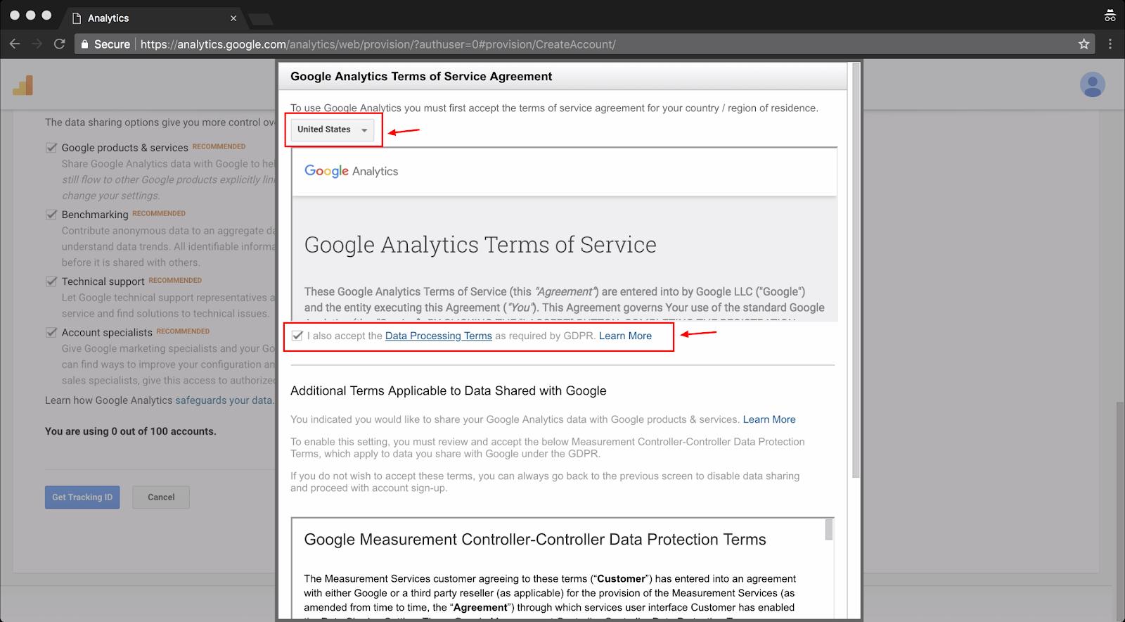 Screenshot showing google analytics terms