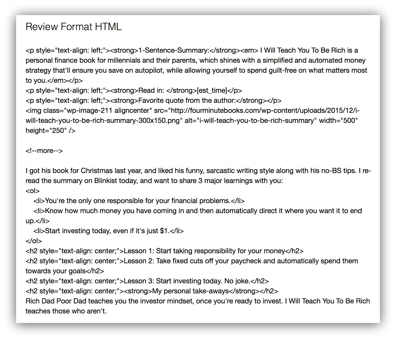 review format html