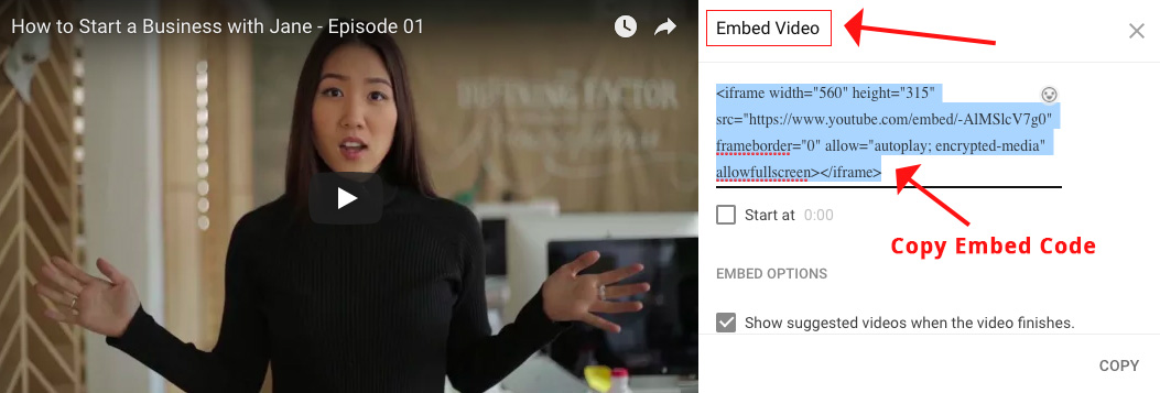 Screenshot showing an embed video code