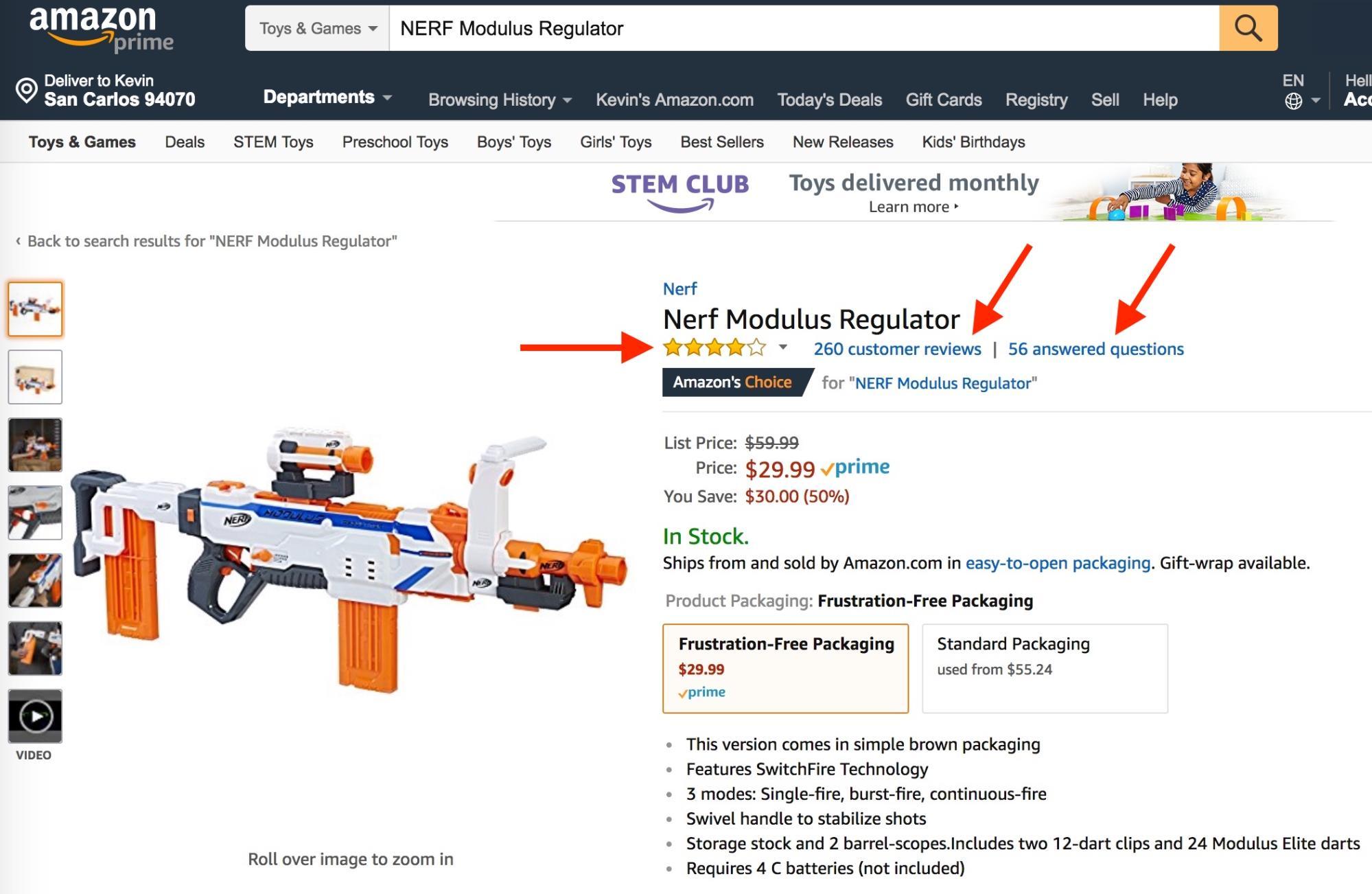 Screenshot showing an amazon product page