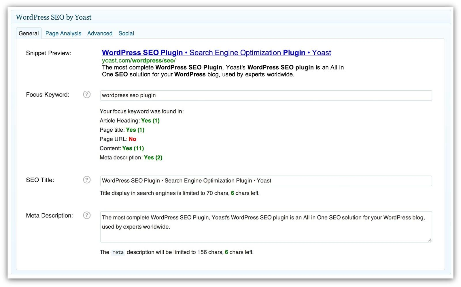 Screenshot of the Yoast SEO plugin on wordpress