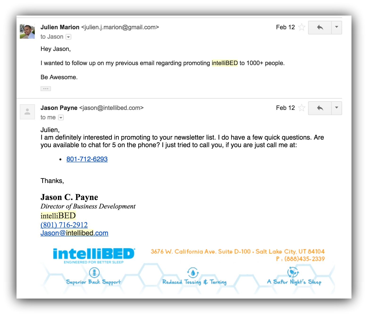 Screenshot showing an email and a reply