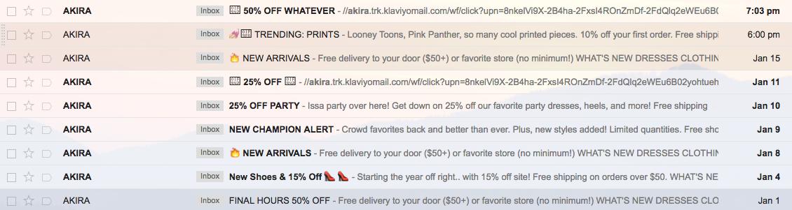 Screenshot showing an inbox