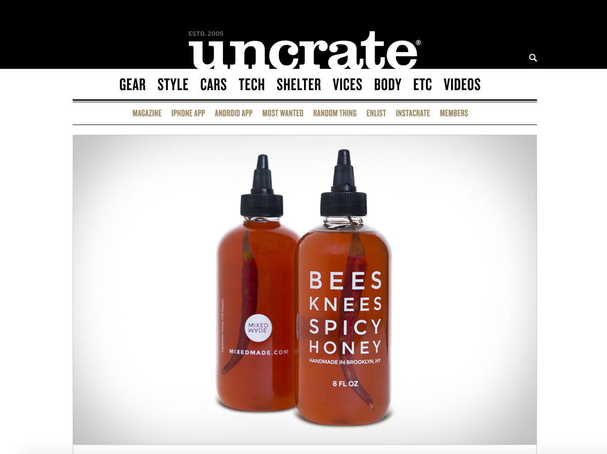 Screenshot showing a landing page on uncrate