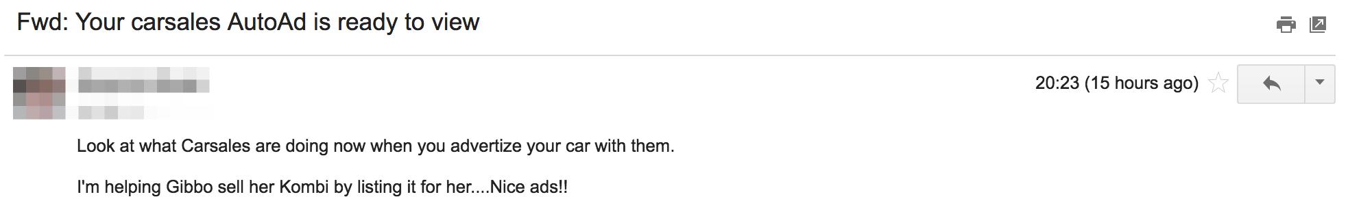 Screenshot showing an email