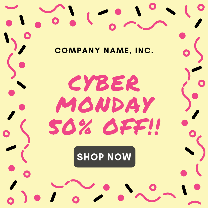 Screenshot showing a cyber monday promo banner